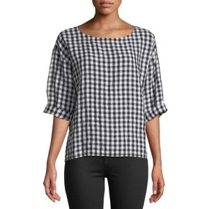 Eileen Fisher, Organic Linen Black White Gingham S